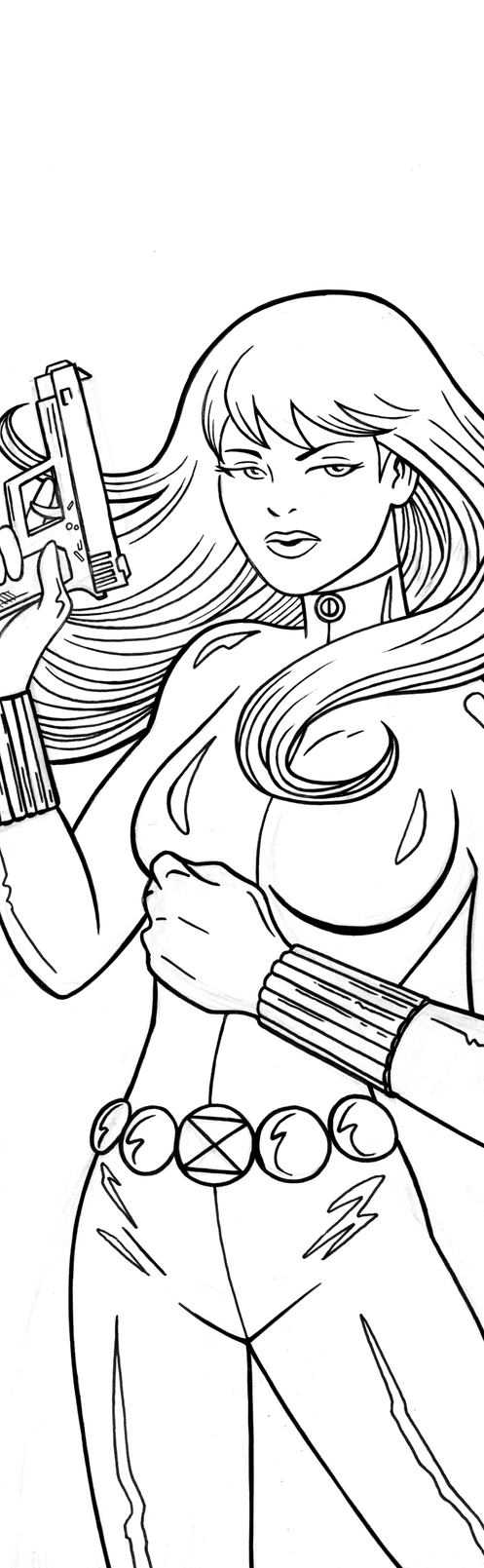 Black Widow Panel Art Inks by RichBernatovech