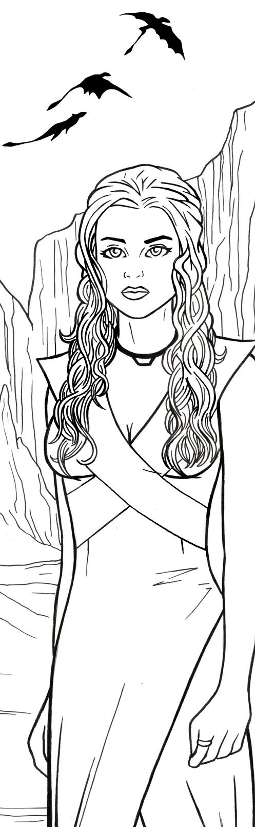 Daenerys Targaryen Art Inks by RichBernatovech