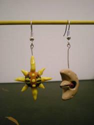 Solrock and Lunatone Earrings by Foureyedalien