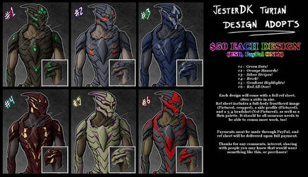 Six Turian Designs for sale!