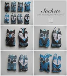 Owl and Fox sachets by Arahiriel