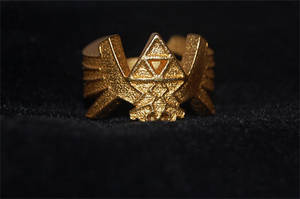 Gold plated triforce ring by knil-maloon