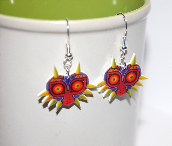 Legend of Zelda Majoras mask earrings by knil-maloon
