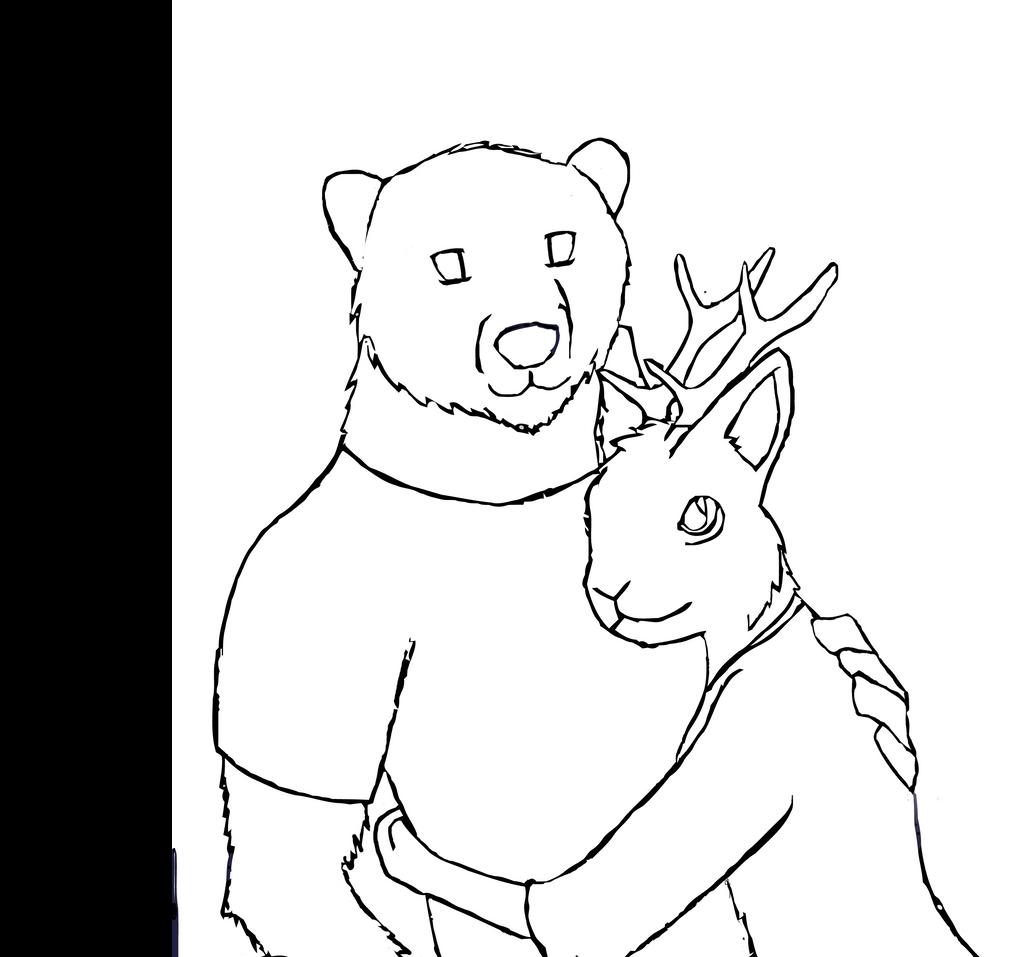 Line Art Bear : Prizzly bear and jackalope wip by chloerosewolf on deviantart