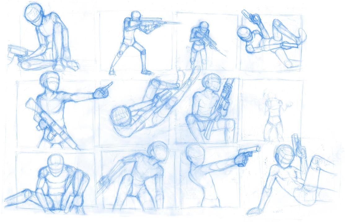 Pose Studies 21 (guns) by BBstudies