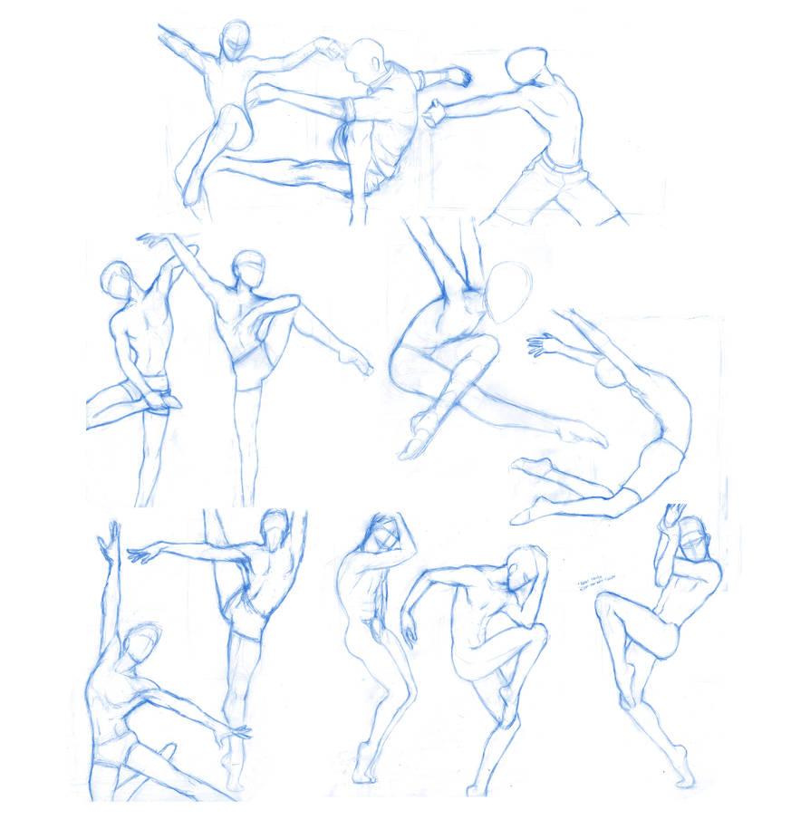 Pose Studies 30 (ballerins 4) (massive sheet) by Brant-Bi