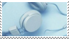 blue headphones aesthetic stamp by hematology