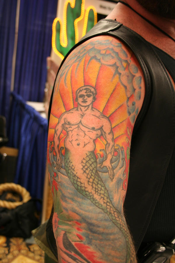 Merman tattoo - shoulder tattoo
