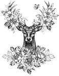 deer covered in flowers