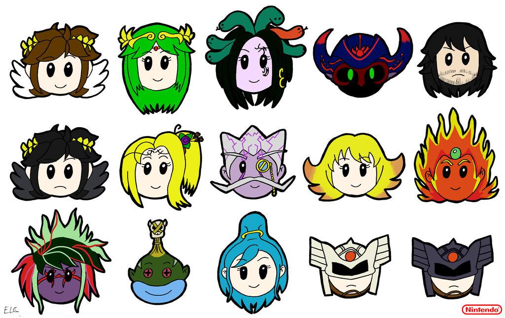 Kid Icarus Uprising chibi-pop heads by hotcheeto89