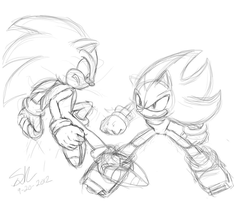 Sonic VS Shadow sketch by ShadowReaper12 on DeviantArt