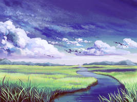 River in Grassland by ViridianMoon