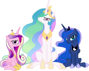 Three very unhappy princesses by GameMasterLuna