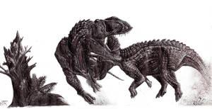 T. rex VS Triceratops by greeni-studio