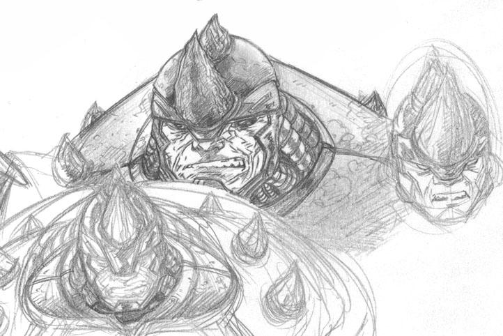 how to draw a rhino head