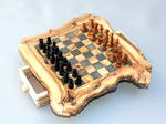 Engraved Olive Wood Rustic Chess Set - Small Size