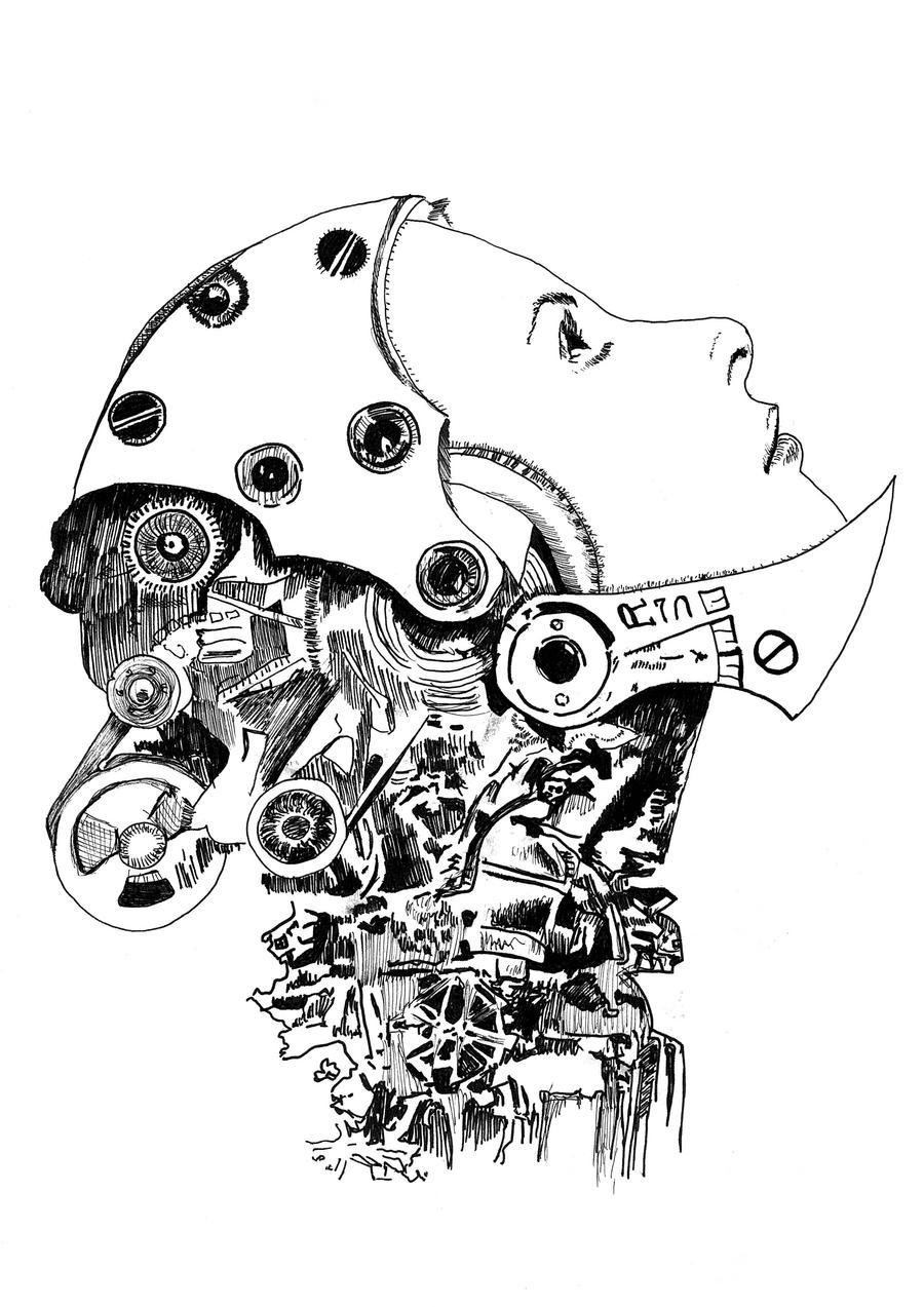 Cyborg Cat Drawing
