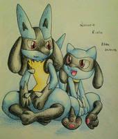 Lucario And Riolu by KhloeAlyssa