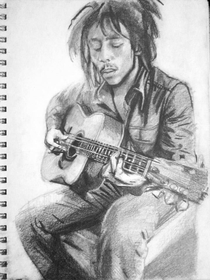 Bob Marley w/ guitar by like-allan-poe