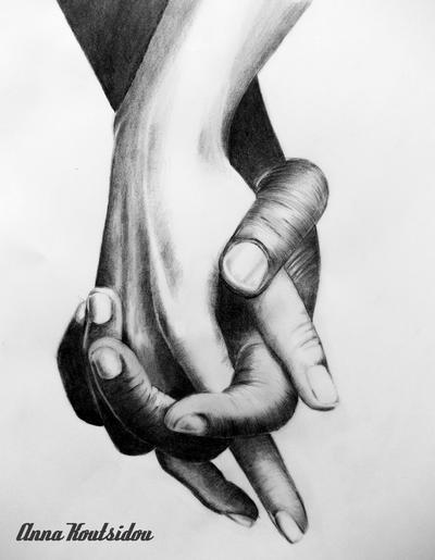 Drawing of Hands Holding Holding Hands by Annakoutsidou