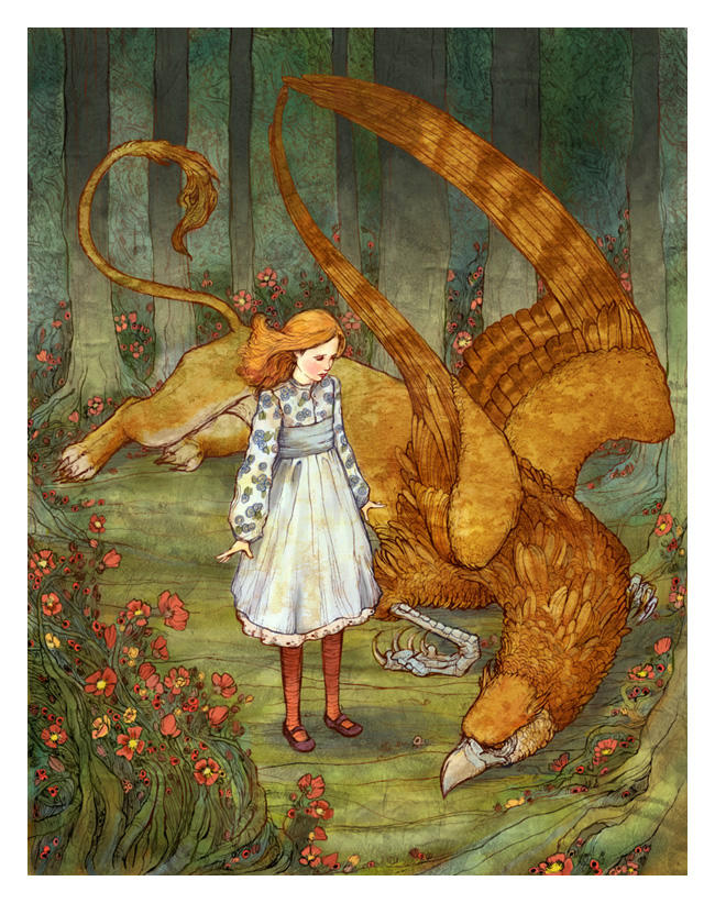 Alice and the Gryphon - color