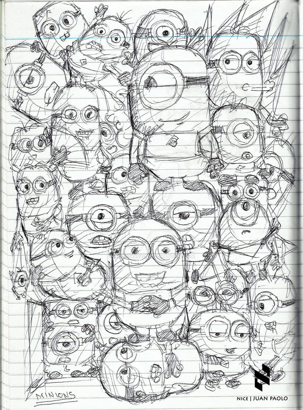 Minion Doodle by NICEjuanpaolo on DeviantArt Despicable Me 2 Minions Drawing