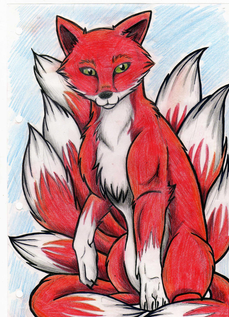 how to draw 9 tailed fox