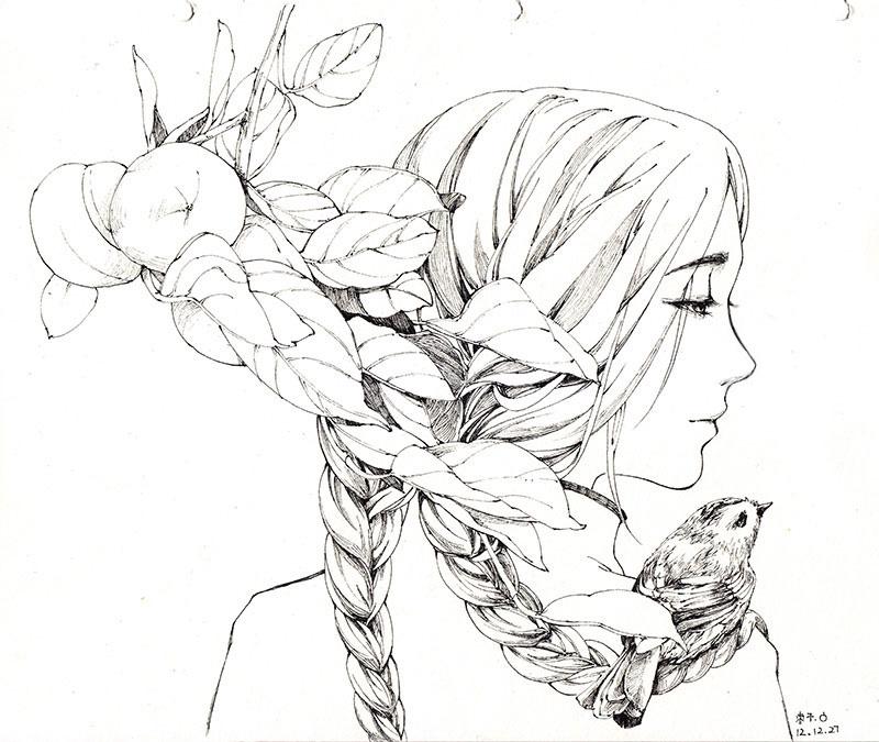 Girls and birds by Zaozi-Nanaly
