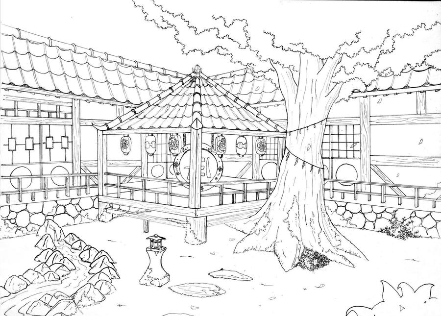 japanese garden coloring pages - photo #11