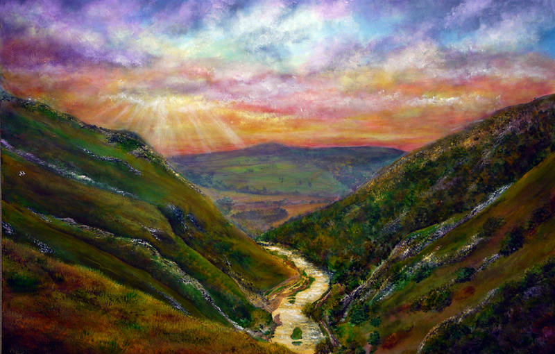 Dovedale Sunset Painting by AnnMarieBone