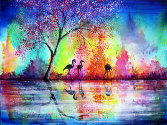 Flamingo Waters by AnnMarieBone