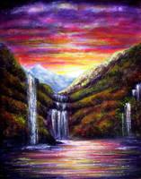 Sunset Falls by AnnMarieBone