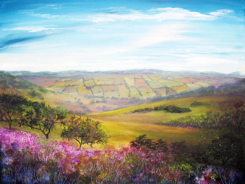 Painting: Fields of Derbyshire by AnnMarieBone