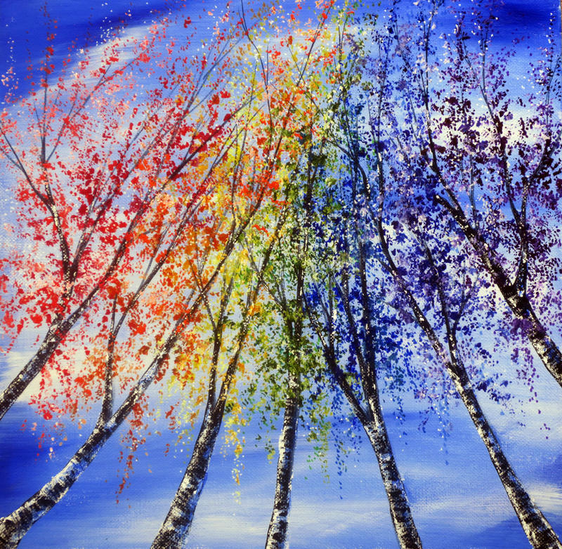 Rainbow Birches by AnnMarieBone