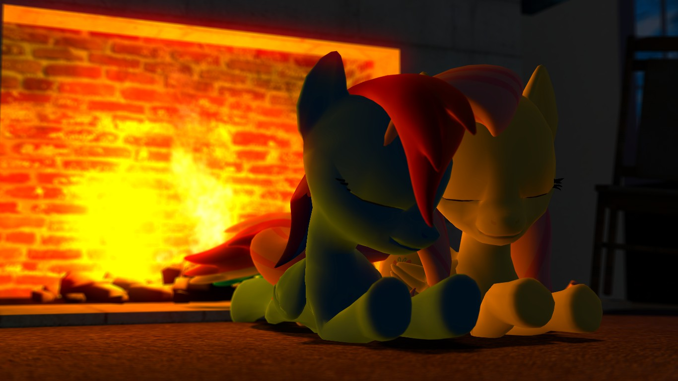 Flutterdash: Wintertime rest by the fireplace by Legoguy9875