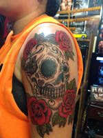 Sugar Skull Roses Tattoo by ngoc50