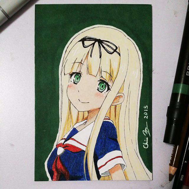 Yuudachi Sketchcard by SleepyNoodleDoodles
