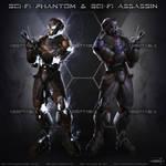 Sci Fi Phantom And Sci-Fi Assassin - Adoptables by ArtByGhost