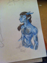 Hairy alien man chest by Drayna