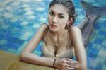 A mermaid in the pool