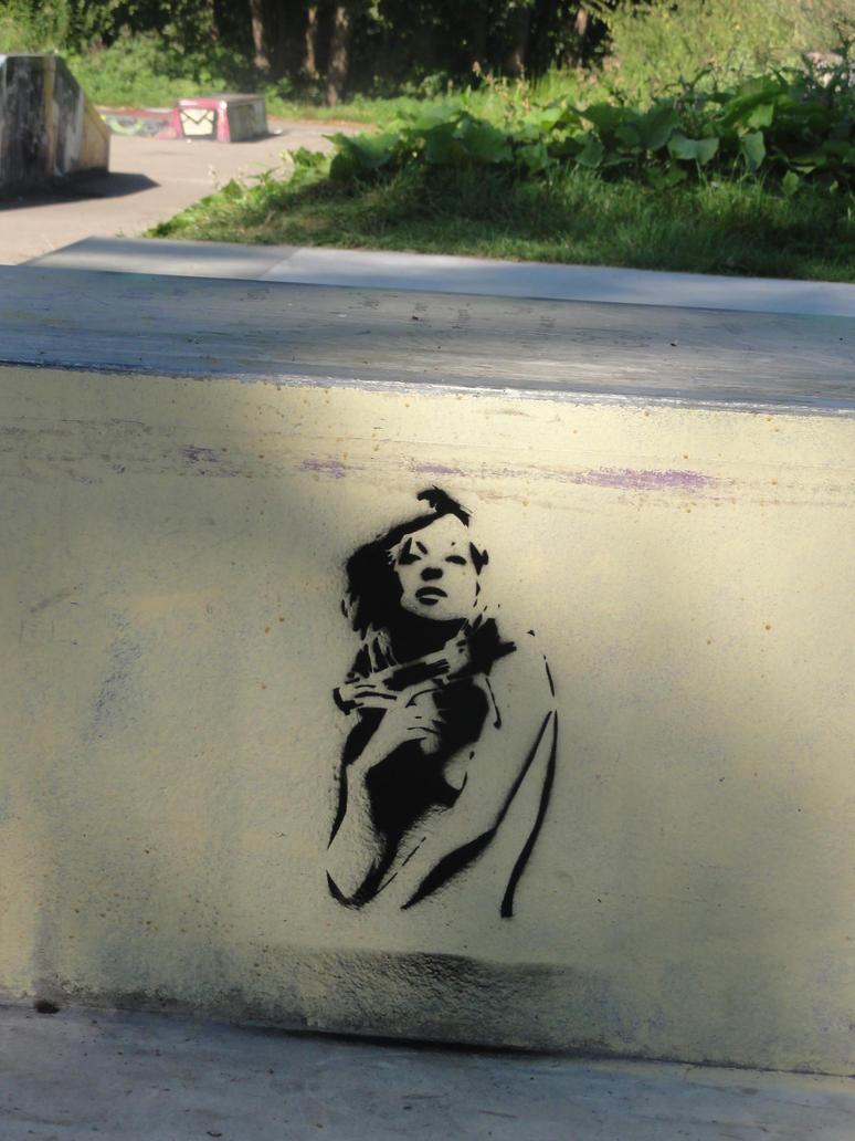 graffiti stencil Girl by mathijsvanrijnsoever