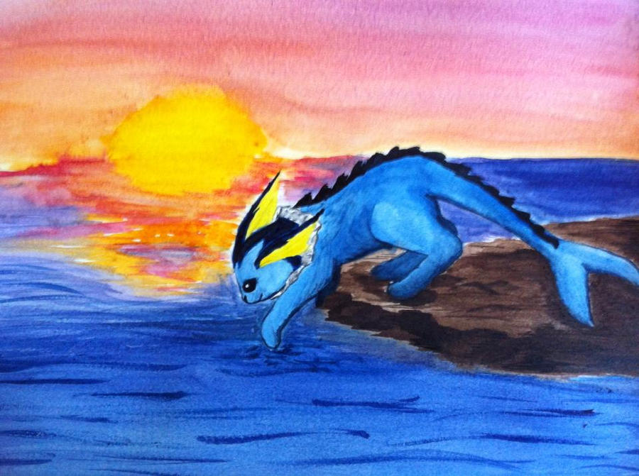 Vaporeon at Sunset by NeeNeeFox