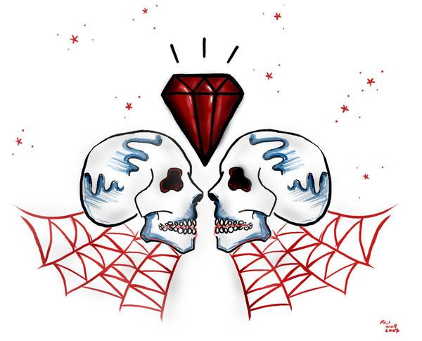 Twin Skulls tattoo - chest tattoo