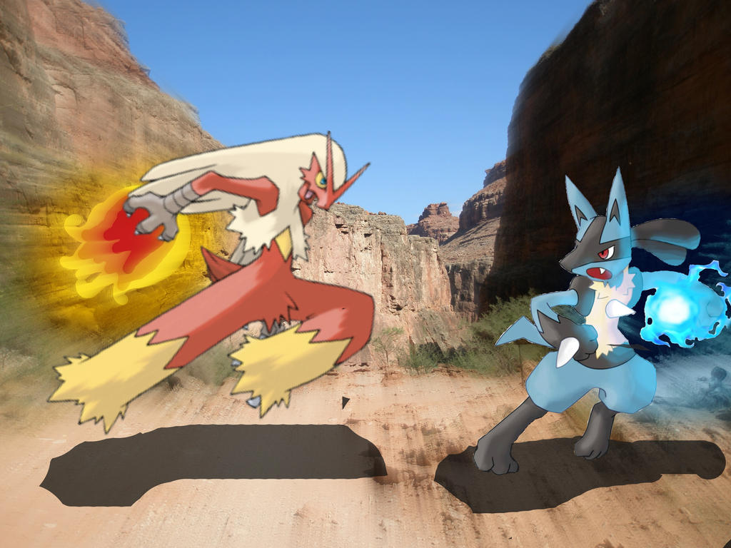 Pokemon Feuds-Lucario VS Blaziken Wallpaper by MoonFlamesd ...