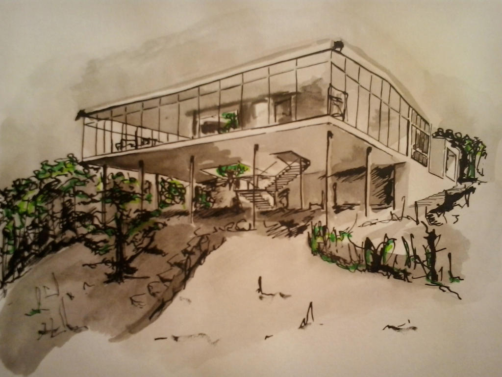 Casa de vidro by marie melissa on deviantart for Croquis de casas