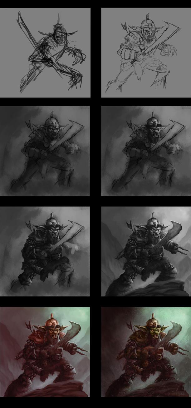 Orc Marauder Painting Process by pinkhavok