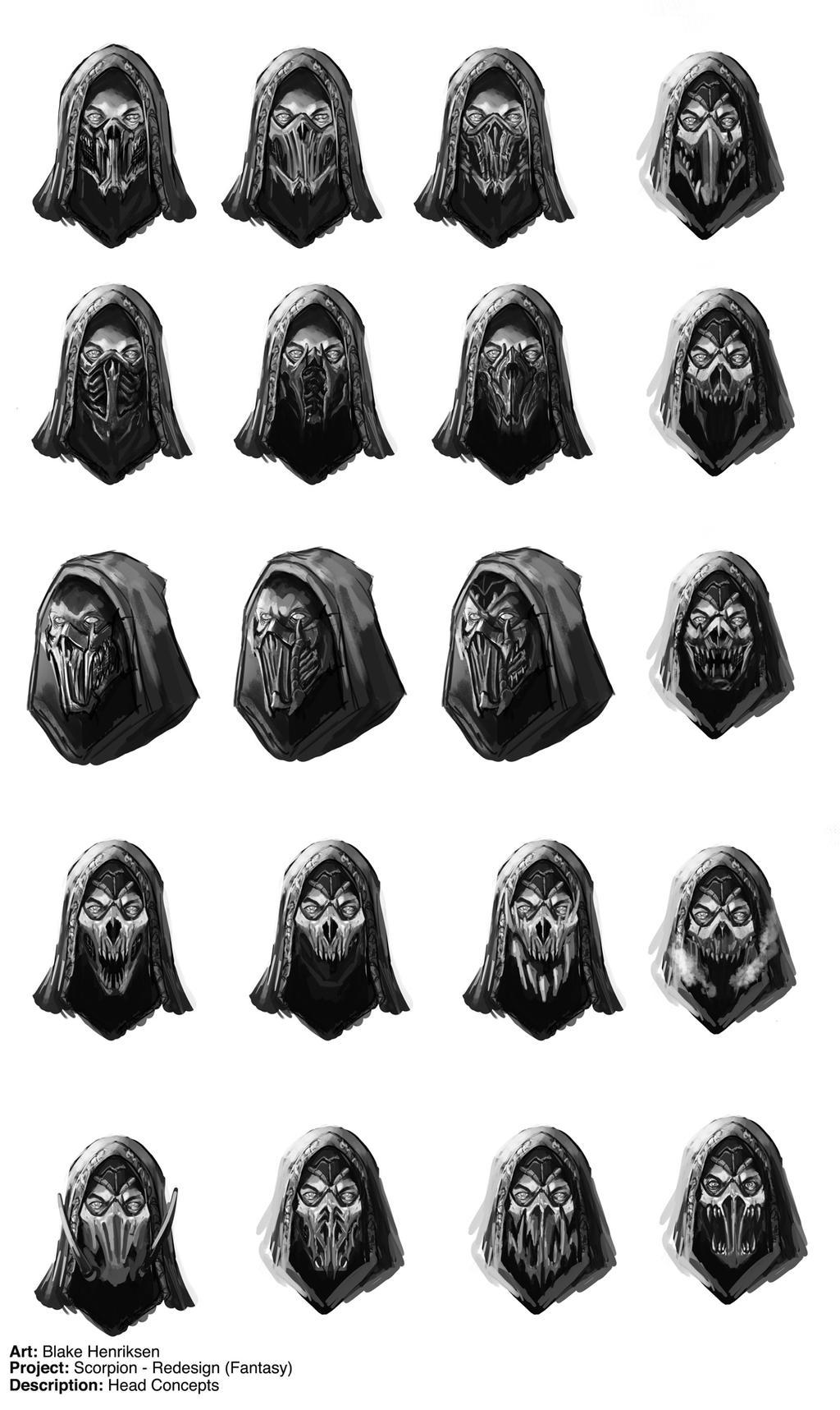 Mortal Kombat: Scorpion Face Mask Redesigns by pinkhavok