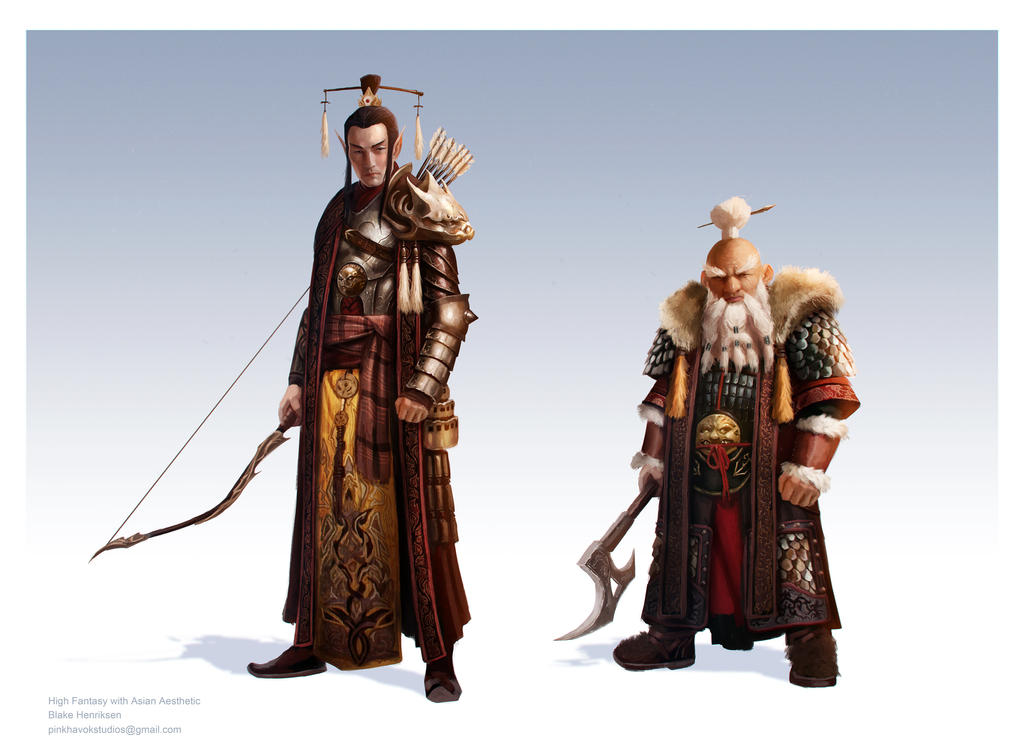 High Fantasy Elf and Dwarf with Asian Aesthetic by pinkhavok