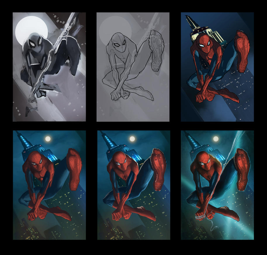 Spiderman Progression by pinkhavok