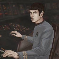 Spock at bridge by Lenap